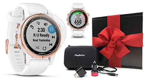 (Garmin Fenix 5S Plus+ Sapphire (Rose Gold) GPS Watch Gift Box Bundle | +Screen Protectors, PlayBetter USB Chargers & Protective Case | 2018 Model, Carrera White Band | Black Gift Box, Red Bow)
