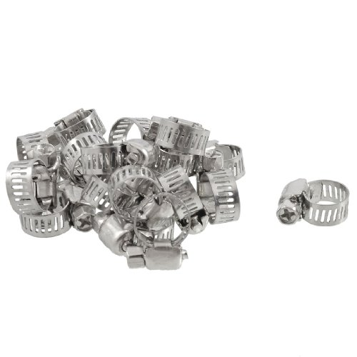 uxcell 20 Pcs Stainless Steel 9-16mm Hoop Ring Adjustable Hose Clamps