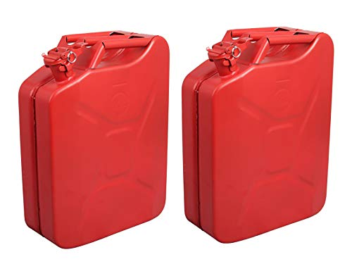 (Clever Market Jerry Can Gas Tank Automotive Fuel Backup Steel Red Tank Emergency NATO Army Jerry Cans Gasoline Military Tank 5 Gal 20L Set of 2)