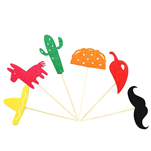 Fiesta Cupcake Toppers, Mexican Themed Cactus Donkey Taco Pepper Sombrero Mustache Party Decorations, 24 pcs by Awesome Surprise (Image #1)