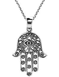 Henna Hamsa Hand of Fatima with Evil Eye .925 Sterling Silver Necklace