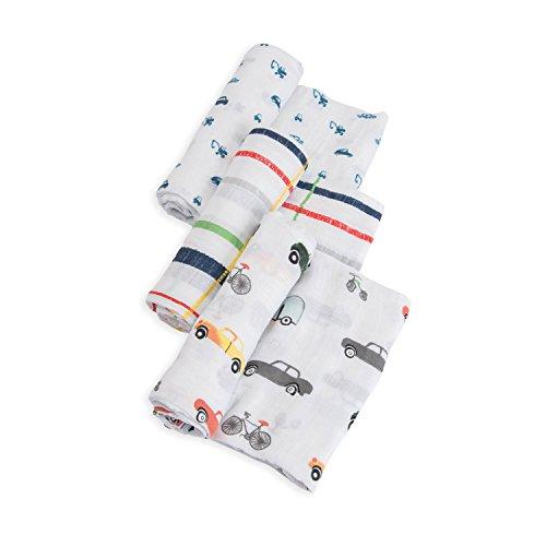 Little Unicorn Cotton Muslin Swaddle Blankets 3 Pack - Traffic Jam
