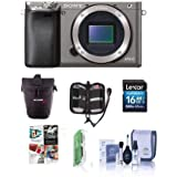 Sony Alpha A6000 Mirrorless Digital Camera Body, Graphite - Bundle with Slinger Holster Case, 16GB Class 10 SDHC Memory Card, Cleaning Kit, Memory Case, Card reader, Software Package