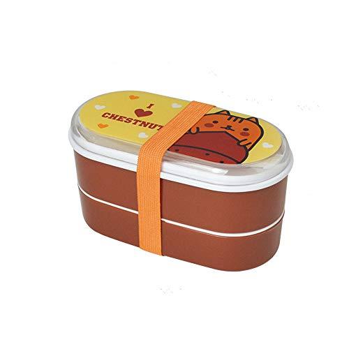 WPCBAA Fiambrera de plástico Saludable Cajas de Bento de 600 ML Contenedor de Comida Vajilla Cubertería (Color : Coffee)