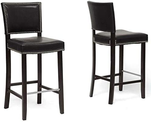 Atlin Designs 30 Faux Leather Bar Stool in Black Set of 2