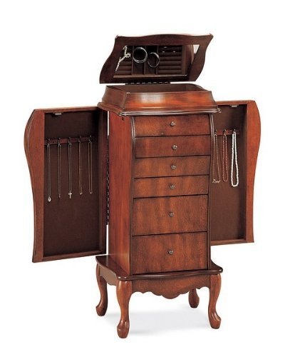 Light-Brown-Wooden-Jewelry-Armoire-Mirrored-Wood-Box
