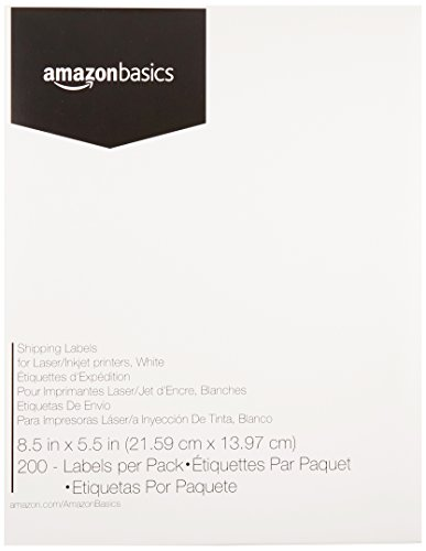 AmazonBasics Easy Cover Address Labels for laser/Inkjet Printers, White, 8.5'' x 5.5'', 200 Labels ()
