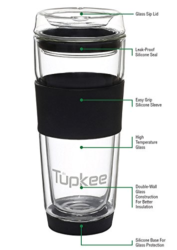 Tupkee Double Wall Glass Tumbler - All Glass Reusable Insulated Tea/Coffee Mug & Lid, Hand Blown Glass Travel Mug, 14-Ounce, Black