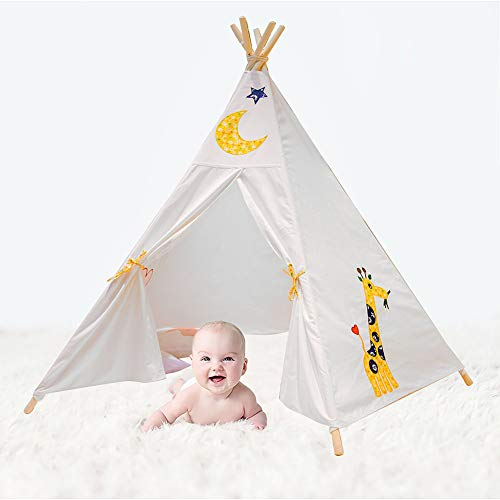 YOHOZ Kids Teepee Children Play Tent Foldable - Deluxe 100% Cotton Canvas Play House Full Canvas Decoration. Indian Wigwam Tipi for Indoor Outdoor Climbers, Tough & Built to Last. (White - Tent Play Elephant Kid