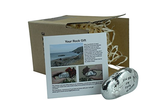 19th Anniversary You Are My Rock Gift Idea - Solid Metal Heavy Polished Rock Gift for 19 Year Anniversary