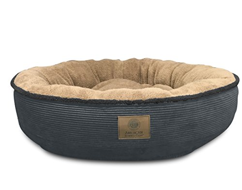 Dog Round Bed (American Kennel Club AKC Ultra Soft Jumbo Corduroy Xl Round Pet Bed,)