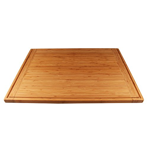 BambooMN Universal Premium Pull Out Cutting Boards - Under Counter Replacement - Designed To Fit Standard Slots Heavy Duty Kitchen Board with Juice Groove - 22
