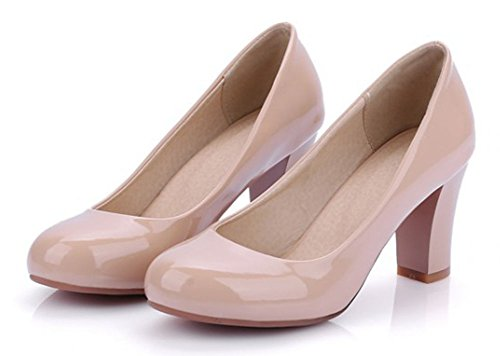 Aisun Womens Elegant Patent Leather Round Toe Low Cut Dress Chunky Mid Heels Slip On Pumps Bridal Party Shoes Apricot XQr3MaI