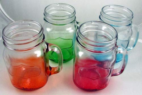 Yorkshire Mason Jar Mug in Assorted Colors, 4 Pieces, Each 17.5 oz (Square) -