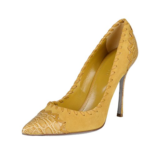 Sergio Rossi Suede Croc Skin High Heel Pointy Toe Pumps S...