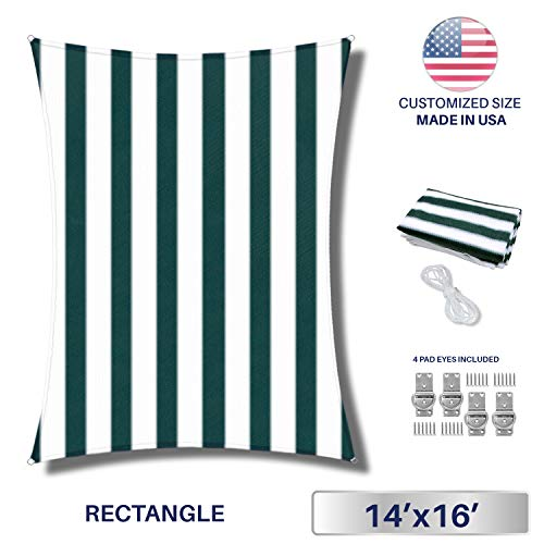 (Windscreen4less 14' x 16' Rectangle Sun Shade Sail - Wide Green Stripes/Wide White Stripes Durable UV Shelter Canopy for Patio Outdoor Backyard with Free 4 Pad Eyes - Custom Size)