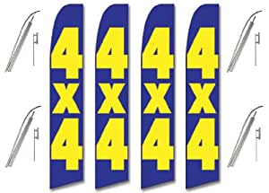 Four (4) Pack Swooper Flags & Pole Kits Four Blue Yellow Bold Big Vertical 4X4