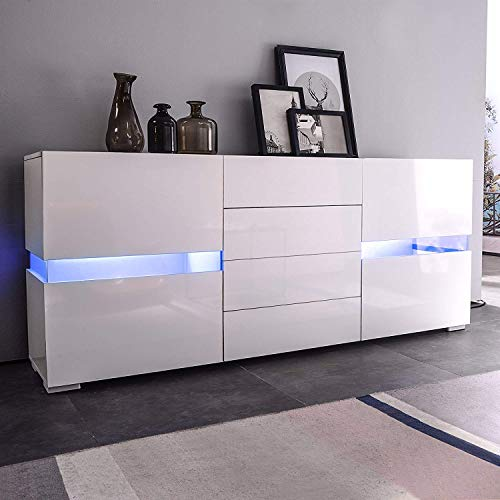 Mecor Sideboard Cabinet Buffet,Kitchen Sideboard and Storage Cabinet/TV Stand High Gloss LED Dining Room Server Console Table 2 Doors & 4 Drawers (White)