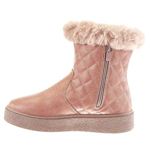 Angkorly Zapatillas Moda Botines Botas de Nieve Mujer Piel Zapato Acolchado Tacón Plano 3.5 cm Rosa