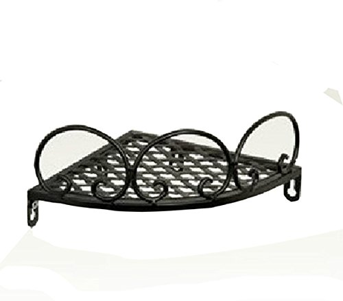 Garden Style Wrought Iron Corner Shelf Triangle Bathroom Shelves (Black)