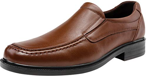 JOUSEN Men's Loafers Leather Oxford Slip On Driving Loafers Square Toe Formal Dress Shoes(11,Brown) ()