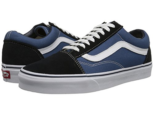 Vans Unisex Old Skool Skate Shoes, Comfortable and Durable Canvas Upper and Padded Tongue and Signature Rubber Waffle Outsole - Old Womens Navy Waffle
