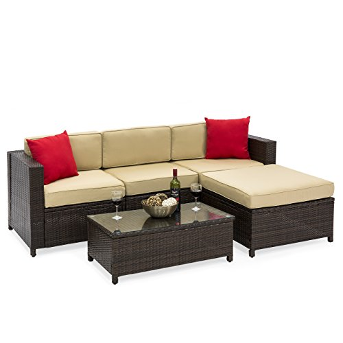 Best Choice Products 5-Piece Wicker Patio Sectional Set w/ Beige Cushions and Red Accent Pillows (Brown)