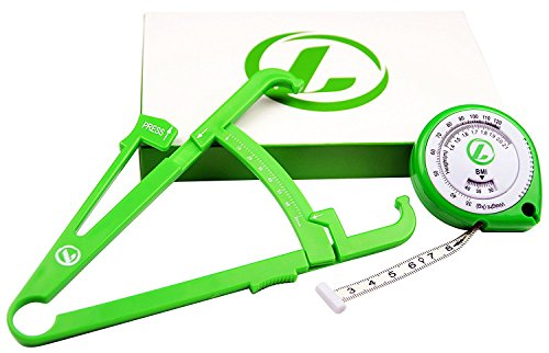 LAZURA Caliper Körperfettmessgerät & Maßband   Online-Rechner & Tracking-Plan   inkl. BMI-Test   Robuste Mechanik   Ausführliche deutsche Anleitung   Designed in Germany