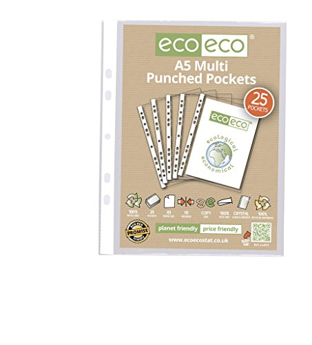 25 x eco-eco A5 100% Recycled Smooth Glass Clear Punched Plastic (Eco Punched Pocket)