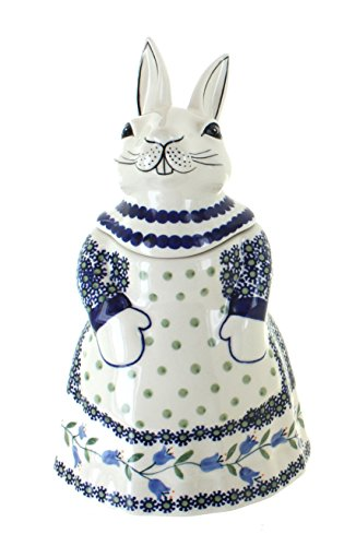 Used, Blue Rose Polish Pottery Tulip Rabbit Cookie Jar for sale  Delivered anywhere in USA
