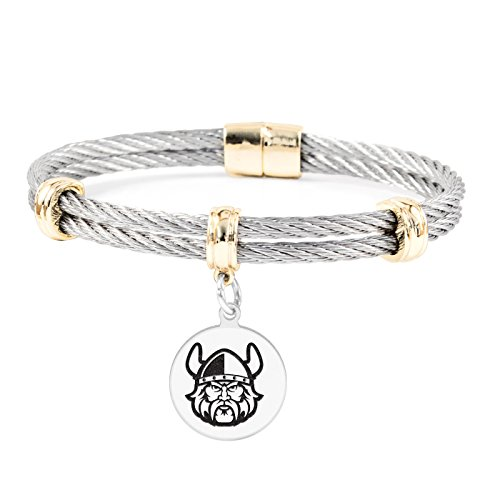 Cleveland State University Vikings Round Charm Bracelet | Stainless Steel Magnetic Clasp Bangles