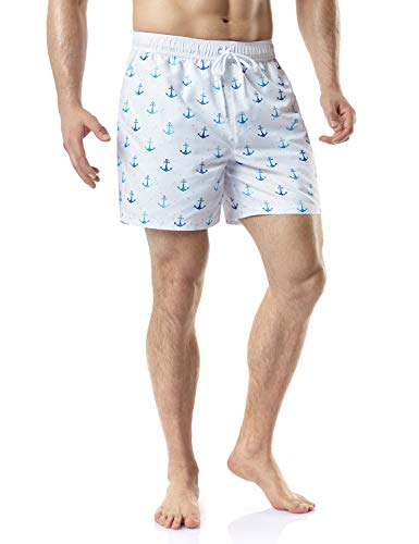 - TSLA Men's Swimtrunks Quick Dry Water Beach, Graphic(msb15) - Anchor White, X-Large