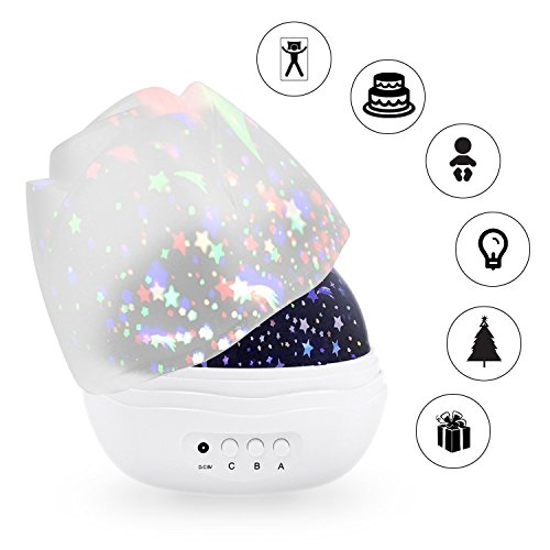 HONGKIDS Star Projector,Bedroom Night Light for Baby,3 Model