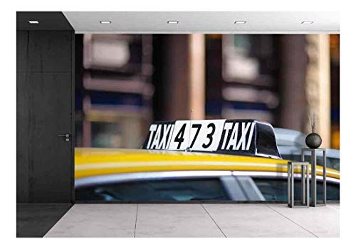 wall26 - Taxi Sign in Big City Close Up - Removable Wall Mural | Self-Adhesive Large Wallpaper - 66x96 -