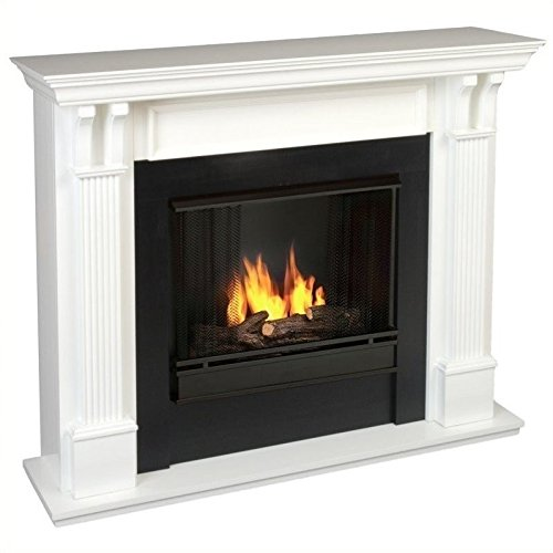 Real Flame Ashley Gel Fuel Fireplace in White Finish - Indoor Gel Fuel Fireplace