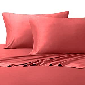 """Silky and Soft Bamboo Blend Sheets, 60% Viscose from Bamboo / 40% Cotton Hybird Weave Sheet Set, Hypo-Allergenic, 18"""" Pockets, Coral, 4 Piece Queen Size Deep Pocket Sheet Set"""