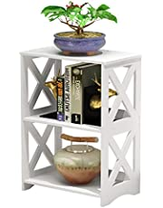 AGGICE Nightstand, 2 Tier Small Side Table, Kids End Table Bookcase Bookshelf, Bedside Table White (2 Tier White)