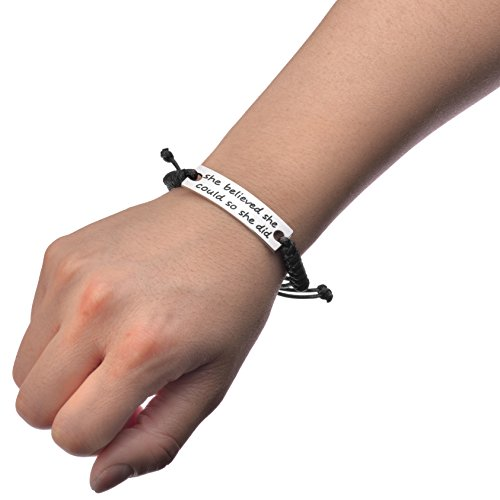 Graduate Jewelry for Girls-She believed she could so she did Engraved Black  Affirmation Positive Quote Inspirational Leather Bracelet for Women Ladies