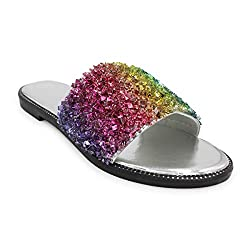Glitter Bling Slide Flat Low Wedge Rainbow Color Sandal