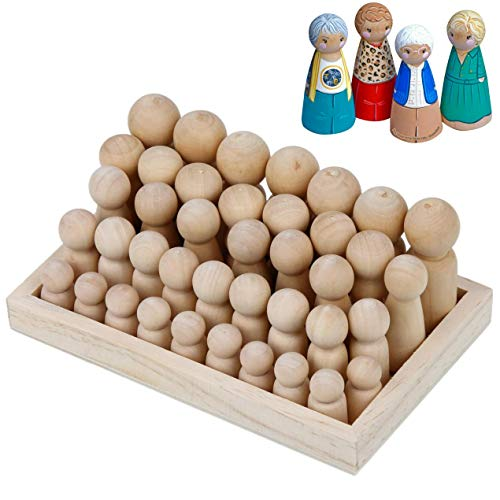 Wooden Peg Dolls Unfinished People - Pack of 40 with Storage Case in Assorted Sizes - Natural Wood Shapes Figures, Decorative Doll Bodies for DIY Arts and Crafts