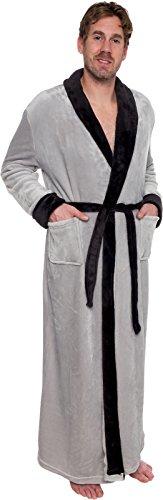 f158329226 Ross Michaels Mens Long Robe - Full Length Big   Tall Bathrobe (Grey Black