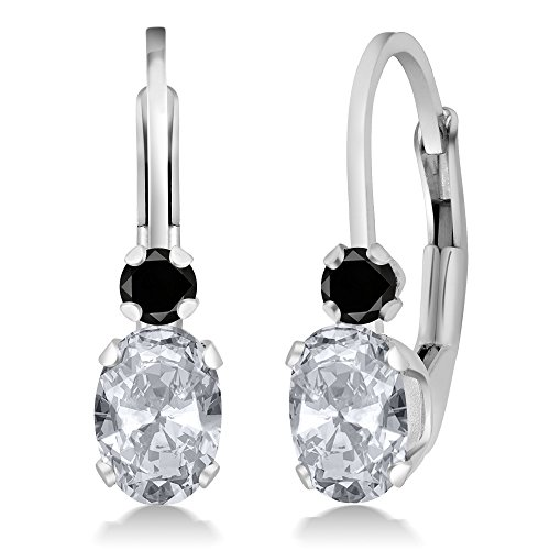 - 1.07 Ct Oval White Topaz Black Diamond 925 Sterling Silver Earrings