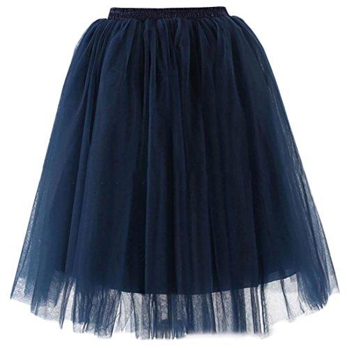 Pandapang Women's Elegant Elastic Waist Wedding Mesh Swing Ruched Skirts Navy S