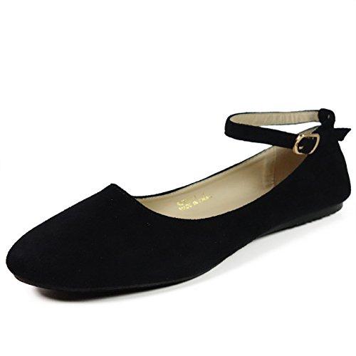 Voda Women's Ankle Strap Flat Shoes,Remax1 BlackSuede 8h