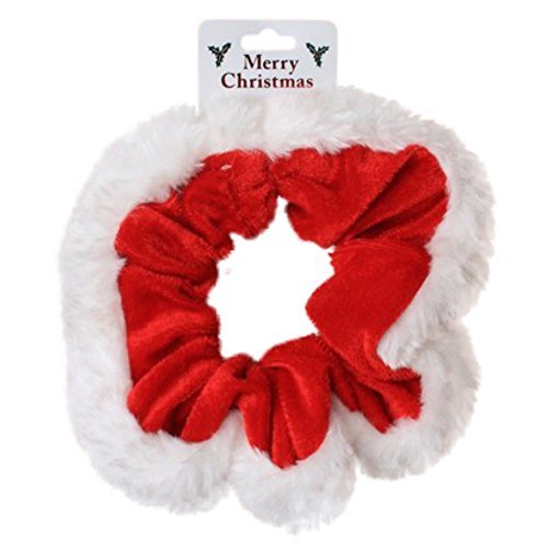 Christmas Red Velvet and White Fur Trim Hair Scrunchie Bobble Elastic Hair Band by Pritties Accessories