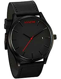 MVMT Watches Black Face with Black Leather Strap Men's Watch