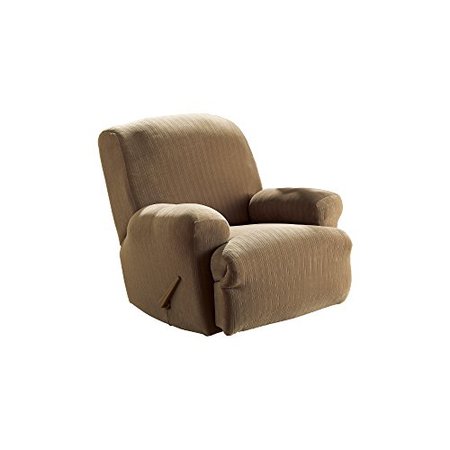 Sure Fit Stretch Pinstripe 1 Piece   Recliner Slipcover   Taupe (SF35818)