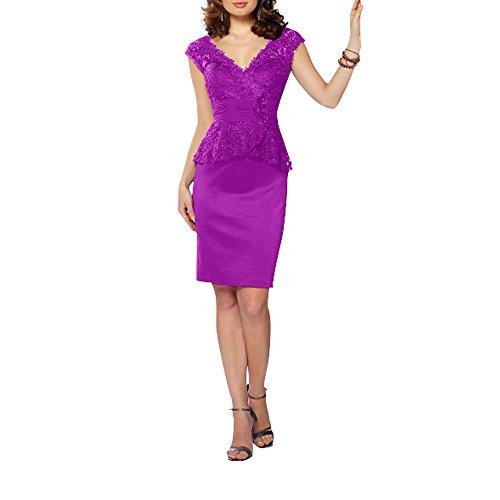 Spitze Violett Schmaler Elegant Kurzarm Promkleider Abendkleider Schnitt Knie V Braut Satin La mia lang ausschnitt UvqH6xnwI