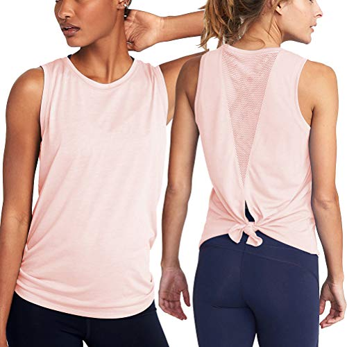 Yoga Camisoles T-Shirts Workout Tanks Shirts Sexy Mesh Tops Exercise Sports Activewear Cute Open Back Light Pink ()