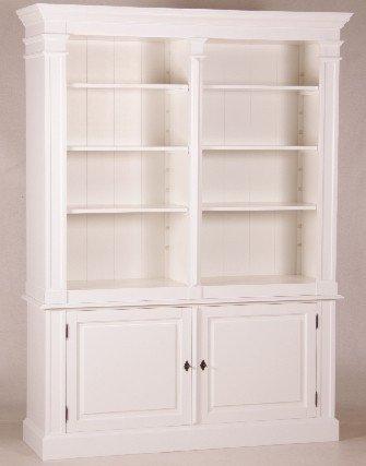 Casa Padrino Shabby Chic Landhaus Stil Schrank Bücherschrank Weiß B 160 H 215 cm- Schrank
